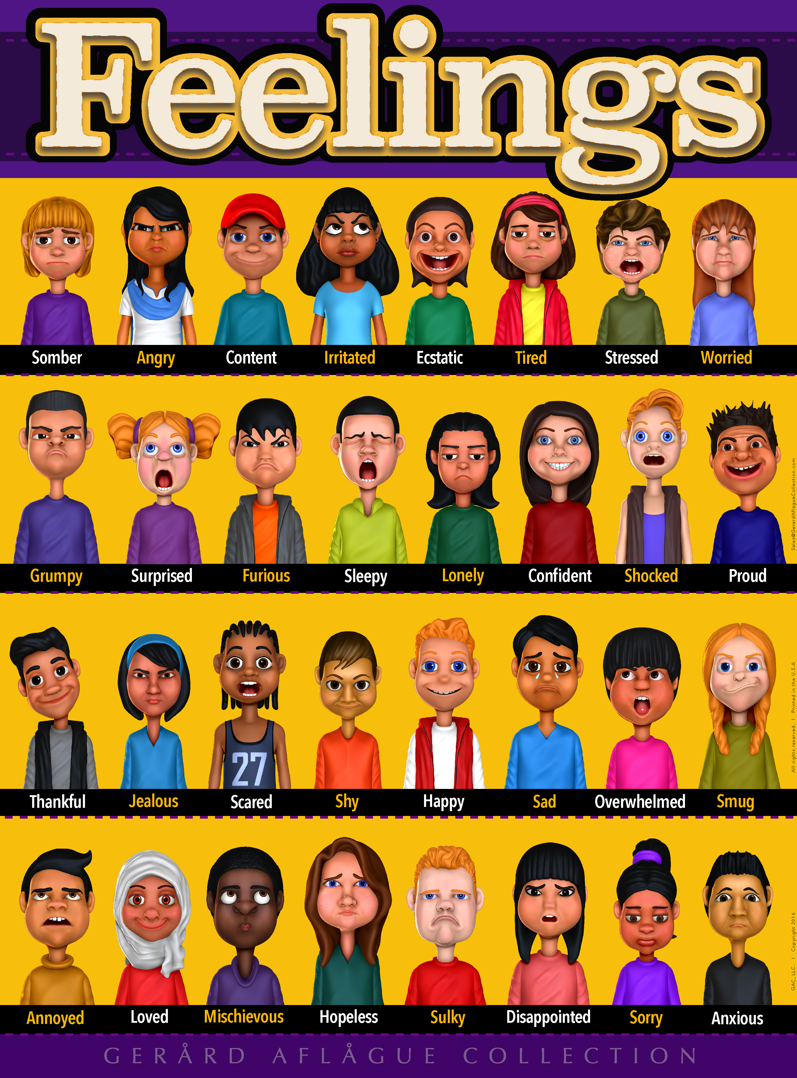 This is a teacher created poster that represents over 30 feelings with student diversity. A great teaching tool that teachers, parents, home-schoolers, counselors, clinicians, and more can use.